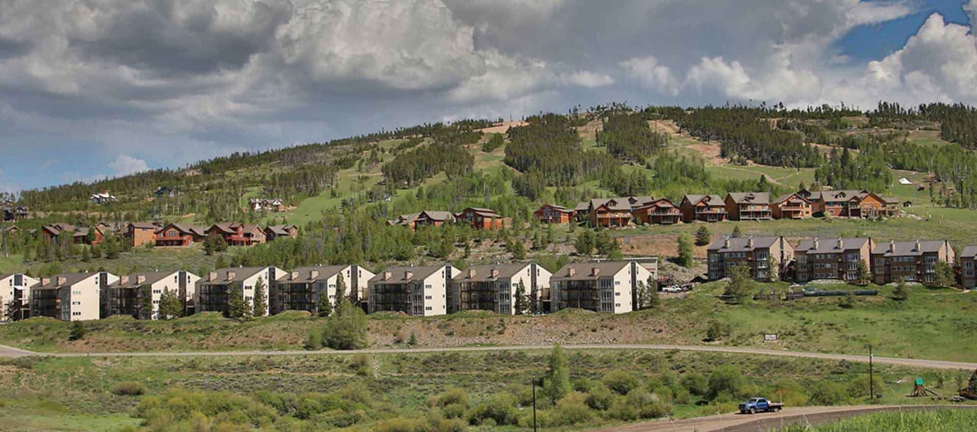 Vacation homes and summer ski slopes.