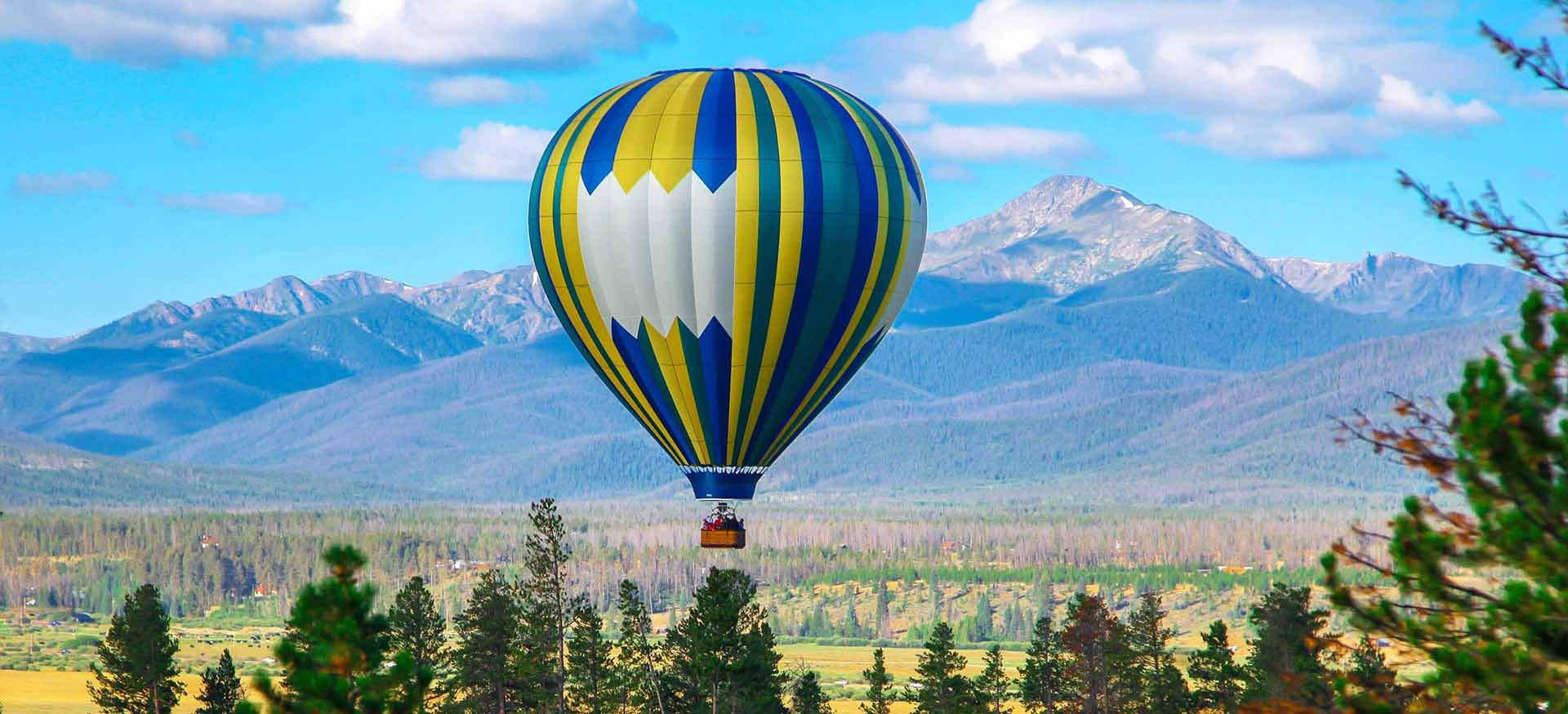 Hot Air Balloon by the Rocky Mountains.