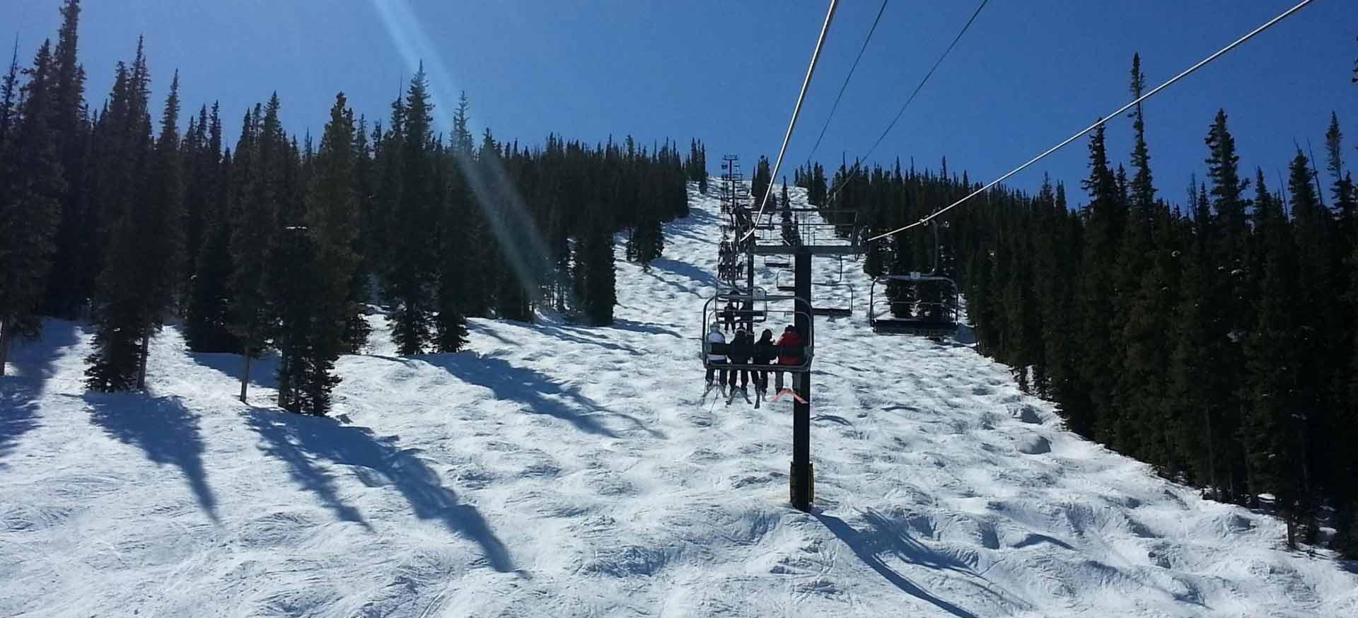 Ski lifts in winter.