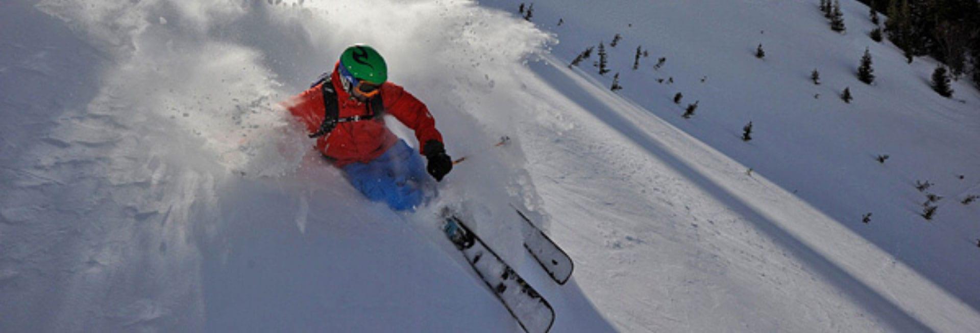 Skier going downhill.