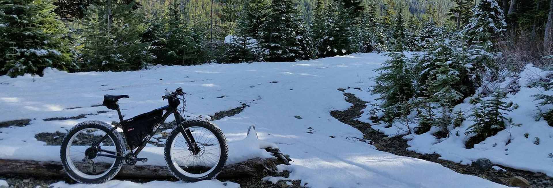Fat tire bike in the snow.